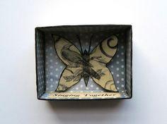 Butterfly Shadow Box Matchbox Art Choir Gift by JuliaPeculiar
