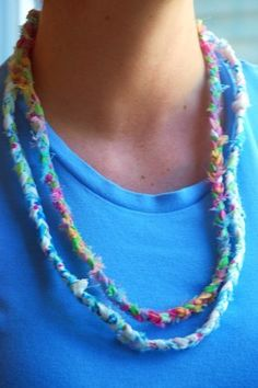 Kid's Craft: Recycled Fabric Necklace  Fun recycled craft idea for kids.