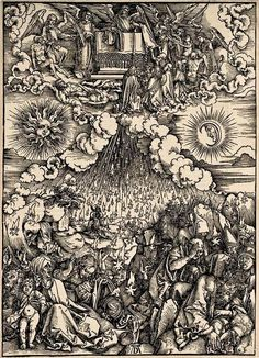 6 DURER, Albrecht (1471-1528) / The Apocalypse [series] #06 of 16 -- The Opening of the Fifth and Sixth Seals / 1496-98 / woodcut durer-apocalypse-06