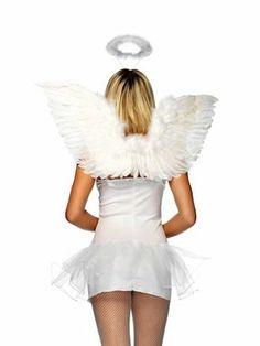 White Wings And Halo Set | Angel/Devil Accessories & Makeup for Halloween Costumes