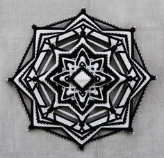 Darkness reveals Light, yarn mandala ~ Ojo de Dios, 12 inches (31 cm), 8-sided, wall hanging
