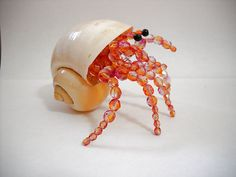 Handmade Glass Beaded Hermit Crab in Real Shell Figurine Large Pink / Orange by TheBeadedHermit on Etsy https://www.etsy.com/listing/286648675/handmade-glass-beaded-hermit-crab-in