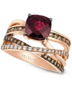 Le Vian Raspberry Rhodolite Garnet (2-3/4 ct. t.w.) and Chocolate and White Diamond (3/4 ct. t.w.) Ring in 14k Rose Gold
