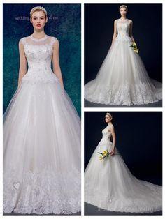 Illusion Neckline Beaded A-line Wedding Dress