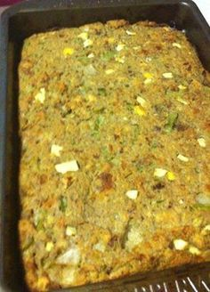 Mama's Cornbread Dressing! INGREDIENTS: 2 cups chopped onions 2 cups chopped celery 1/2 cup butter 4 cups finely crumbled toasted bread 4 cups finely crumbled cornbread 1 tablespoon salt 2 teaspoons freshly ground black pepper 1 tablespoon dried sage 2 teaspoons poultry seasoning turkey broth 4 large eggs, beaten DIRECTIONS: Melt butter in a skillet; add the onions and celery and saute until tender. Combine toasted bread and cornbread in a large bowl and mix. Add onions and celery plus their…