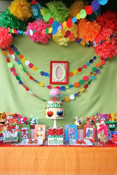 Whimsy & Wise Events: Wisely Planned Birthdays: S is for Sesame Street!  Sesame Street Party, candy station, banner