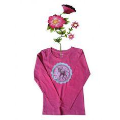 T-shirtje donkerroze lange mouw en grappige eigenwijze print. Maat 110 116