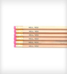 Hell, Yes! Pencil Set | Gifts Cards & Stationery | One Up Designs | Scoutmob Shoppe | Product Detail