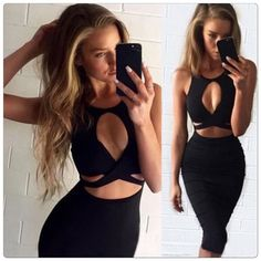 Sexy  Cut Out  Bodycon Stretch Dress Great dress for almost any occasion, fits nicely especially if you have some curves. The material it's very nice and soft and its a mixture of Cotton Blends and Spandex.                                                                                                                                    ✅Price is firm unless bundle Dresses Midi