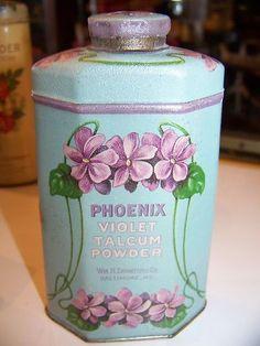 Vintage Phoenix Violet Talcum   Powder Tin