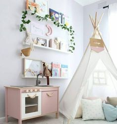 We love the potential of customising an IKEA play kitchen to make it even more special and unique for your child.Here are our top 6 duktig hacks. Play Kitchens, Pink Play Kitchen, Kitchen Sets For Kids, Ikea Play Kitchen, Kitchen Hacks, Kitchen Makeovers, Kitchen Floor, Kids Corner, Reading Corner Kids