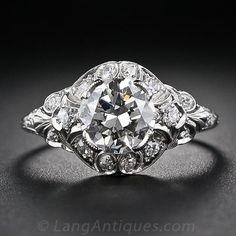 1.44 Carat Art Deco Platinum and Diamond Engagement Ring