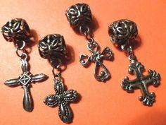 Four Pandora Style Cross Charms or Pendants #jewelry