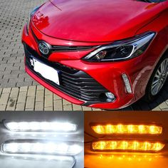 69.99$  Watch now - http://alia9g.worldwells.pw/go.php?t=32783590120 - Hireno Car LED DRL Waterproof ABS 12V Daytime Running Lights for Toyota VIOS 2017 Fog lamp 2PCS