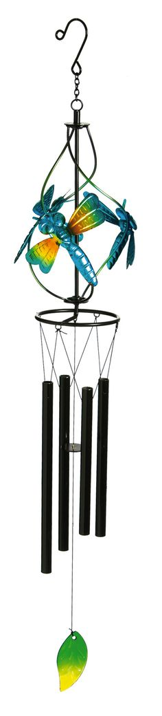 Features:  -Material: Glass, metal.  -Dragonflies.  Product Type: -Wind chime and bell.  Style: -Contemporary.  Material: -Glass/Metal.  Theme: -Animal.  Color: -Blue/Black. Dimensions:  Overall Heigh                                                                                                                                                     More