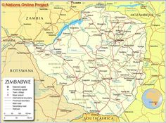 Administrative Map of Zimbabwe - Nations Online Project Victoria Falls, Fire Pit Backyard, Group Tours, Zimbabwe, East Africa, Geography, Road Trip, History, Africa