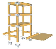 DIY shelving unit by Simpson Strong-Tie.....possible shelving for totes of decor in shed