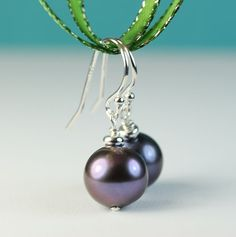 Peacock Colored Pearl drop earrings / Sterling silver by art4ear, $22.00
