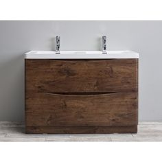 Eviva Smile 48-inch Rosewood Modern Bathroom Vanity Set with Integrated White Acrylic Double Sink - 17977906 - Overstock.com Shopping - Great Deals on eviva Bathroom Vanities
