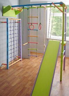build an indoor jungle gym Kids Indoor Gym, Indoor Jungle Gym, Kids Gym, Gymnastics Room, Indoor Climbing Wall, Kids Backyard Playground, Cool Kids Rooms, Toy Rooms, Kids Corner