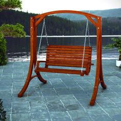 Sharing special moments in your own backyard is easy with this Cinnamon Brown Heavy Duty Rustic Solid Wood Porch Swing. This heavy duty rustic wood swing will c Porch Swing Frame, Porch Swing With Stand, Wood Swing, Patio Swing, Lawn Swing, Patio Diy, Diy Porch, Diy Pergola, Porch Garden