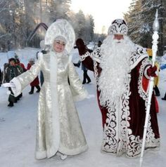 Father Frost is a little like Father Christmas.  He customarily appears with his granddaughter, a snow maiden called Snegurochka, and  together they travel in a  Russian troika, drawn by three horses,  usually carrying  an evergreen tree and presents.  Father Frost is thought to have been a woodsman from northern Russia.