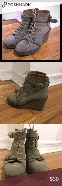 Madewell Suede Wedge Buckle Boots Super cute and comfy lace up wedge boots. Worn in but still in great condition, only flaw is that the straps that hold the buckle are starting to fray (shown close up in the last photo). Madewell Shoes Lace Up Boots