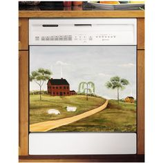 This country themed dishwasher cover adds a touch warmth to the kitchen. The Grazing Sheep dishwasher cover is digitally printed and was originally hand-painted by American artist Marti Idlet.
