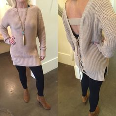 Tie back sweater with leggings and booties