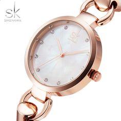 SK Nieuwe mode dameshorloges elegante rose gouden diamanten meisjesklok uitgehold roestvrij stalen band Quartz horloge 2017 Bracelet Watch, Watches, Elegant, Bracelets, Accessories, Fashion, Clock, Classy, Moda
