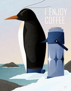 Penguin Enjoys Coffee Art Print by Rogan Josh | Society6
