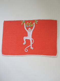 "Monkey bar ! So fun! Mandarin Linen with white Linen Applique and Embroidery. Shown as 5"" X 8"" Cocktail Napkin."