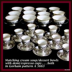 Sterling cup holders and saucers by Gorham with Lenox liners; set of from alasilver on Ruby Lane