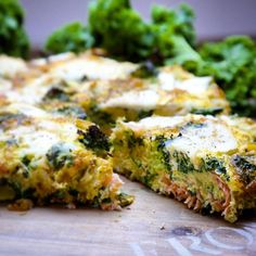 Salmon, Kale, Broccoli and Goats Cheese Frittata
