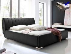 polsterbett luanos 180x200cm schwarz lattenrost klappbar doppelbett schlafzimmer betten nachttische polsterbetten