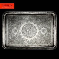 ANTIQUE 20thC PERSIAN SOLID SILVER HAND ENGRAVED LARGE TRAY c.1910