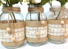 3 burlap and lace mason jars home decor wedding por PinKyJubb
