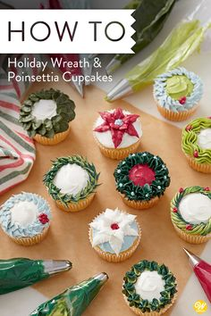 Try baking and decorating these Holiday Wreath and Poinsettia Cupcakes for your Christmas party this holiday season! These homemade Christmas cupcakes feature a variety of piping designs and techniques, great. Christmas Cupcakes Decoration, Holiday Cupcakes, Holiday Desserts, Holiday Recipes, Snowman Cupcakes, Wilton Cake Decorating, Cookie Decorating, Buttercream Cupcakes, Cupcake Cakes