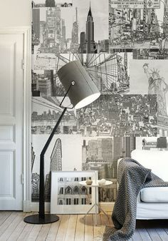 NYC wallpaper behind the drawings or frame wrapping....