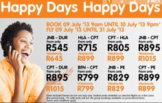 Mango Airlines Happy Days flight special in July 2013