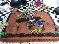 Our Awesome Dirtbike Cake! Motocross Birthday Party, Bike Birthday Parties, Dirt Bike Birthday, Dirt Bike Cakes, Dirt Bike Party, Cupcakes, Cupcake Cakes, Fifth Birthday Cake, Racing Cake