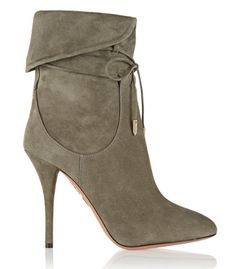 Make this fall your most stylish yet, with these olive suede ankle boots from the Olivia Palermo x Aquazzura Collection.