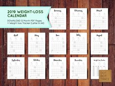 printable weight loss calendars