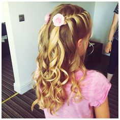 Flower girl twin French plaits on either side with curls #littlegirlsbraidedhair