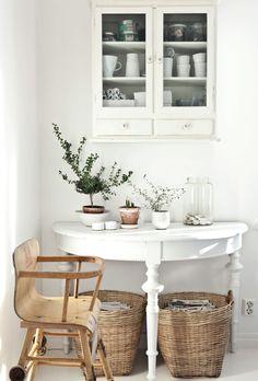 white, plants, chair