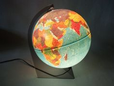 Vintage Lighted Globe Scan Globe Denmark Lucite Stand 1986 by NeedorWant on Etsy SOLD