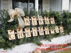 Merry Christmas Letter Tiles and Pine Rope