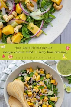 This refreshing Mango and Cashew Salad with Lime Dressing is perfect for warm summer evenings. You will love this sweet, light and zesty salad. Enjoy it on its own as a healthy work lunch or serve as a perfect accompaniment with grilled chicken or prawns. Healthy Lunches For Work, Healthy Salads, Healthy Chicken, Grilled Chicken, Healthy Dinner Sides, Salads For Kids, Salmon And Broccoli, Lunch Wraps, Mango Salad