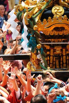Japanese portable shrine Mikoshi at Sanja Matsuri Festival in Asakusa, Japan
