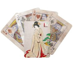Cool oriental japanese classic geisha lady art playing cards